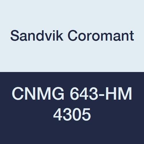 Sandvik Coromant, CNMG 643-HM 4305, T-Max P Insert for Turning, Carbide, Diamond 80°, Neutral Cut, 4305 Grade, Ti(C,N)+Al2O3+TiN, Inveio Coating Technology (Pack of 10)
