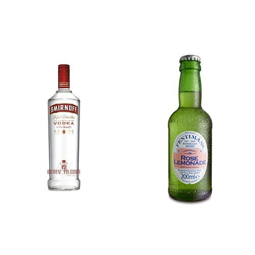 Smirnoff Red Label Vodka (1 x 1 l) mit Fentimans Rose Lemonade, 12er Pack (12 x 200 ml)