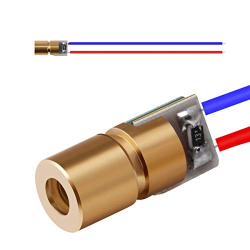 20pcs Red Dot Laser Diode, 5V 650nm 5mW Small Mini Laser Pointer Head Module, DIY Mini Laser Tube with Leads Head Outer Diameter 6mm