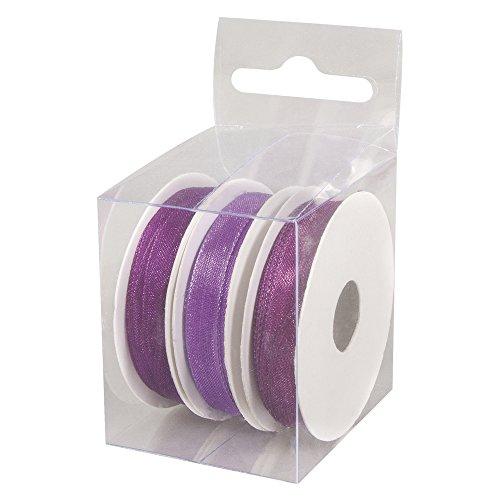 Rayher 5159339 Organzabänder, 7 mm, 3 Rollen à 5 m, Box 15 m, Violett-Töne