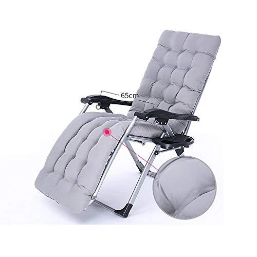 YLCJ Chaise longue Reclinable fauteuils Vouwstoel Breek lunchpauze Draagbaar bed Buitenbed Balkon Lazy stoel Terug Kantoorstoel Vrije tijd stoel Vouwbare tuinstoel +Grijs Kussen