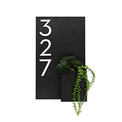 Address Planter Box with Plaque and Numbers (Brown) - Customizable Number Options - Made in The USA