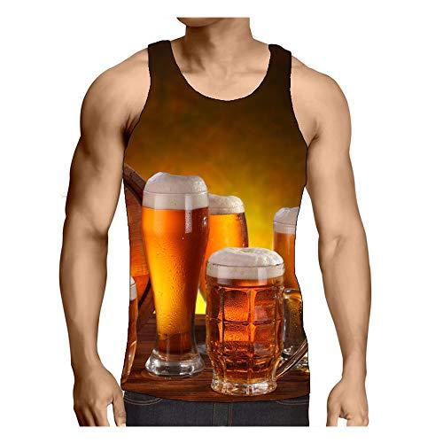 Hiser Camisetas de Tirantes para Hombre 3D Impresión de Licor, Casual Camiseta de Gym sin Mangas Verano Tank Top para Hombre Movimiento Muscle S-3XL (Licor destilado,L)