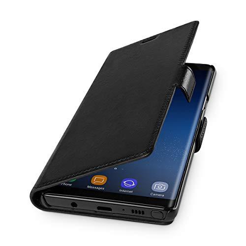 WIIUKA Echt Ledertasche - TRAVEL - für Samsung Galaxy Note 9, extra Dünn, kabelloses Laden Qi, Tasche Schwarz, Leder Hülle kompatibel mit Samsung Galaxy Note 9