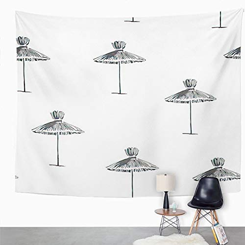 Y·JIANG Bonito tapiz, paraguas de playa vintage de paja en la costa del mar, tapiz decorativo grande, manta para colgar en la pared para sala de estar, dormitorio, 203 x 152 cm
