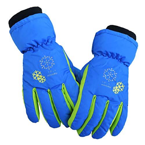 Skifahren warme Handschuhe, Winter wasserdicht gepolsterte warme Futterhandschuhe, Schneeflocke gedruckt Seil Handgelenk warme rutschfeste Handschuhe, geeignet für Kinder im Alter von 3-15