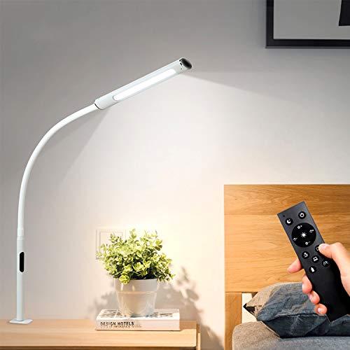 ACMHNC 12W LED Lámpara de Escritorio Con Pinza, Luz de Lectura Regulable Con Control Remoto, Luz de Abrazadera Cuello de Cisne Ajustable,4 Temperatura Colores, Lámpara de Mesa Táctil Oficina, Blanco