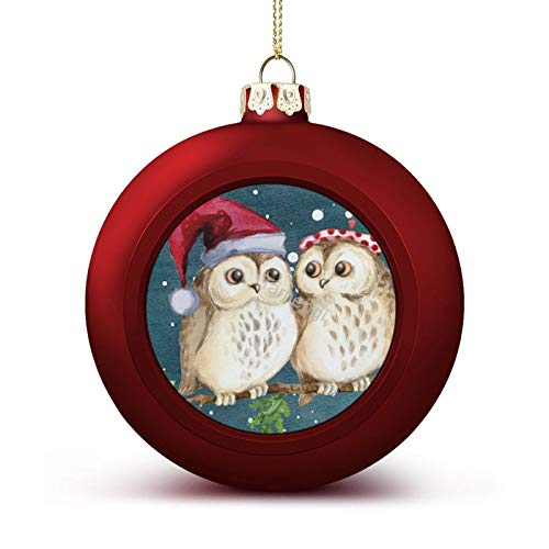 3 Inch Christmas Ornament, Christmas Two Owls Santa Hat Watercolor Xmas Ornaments, Keepsake Gift Memorial Peace & Happiness Christmas Decorations