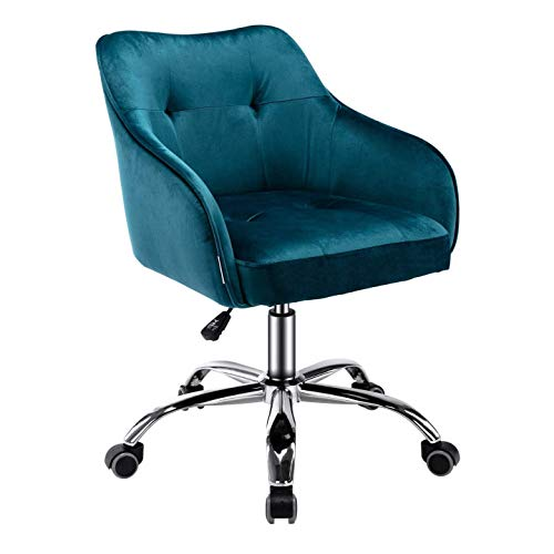 Velvet Desk Chair for Home Office, Soft Height Adjustable 360°Swivel Computer Chair, Upholstered Guest Chair with Armrest and Wheels for Living Room/Study Room/Bedroom (Green)