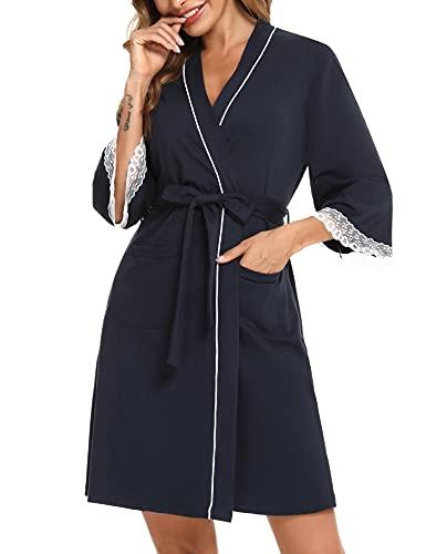 Aibrou Vestaglia Donna, Donna Pigiama Kimono 3/4 Sleeve Vestaglia Donna Estate Scollo a V Accappatoio Camicia da Notte