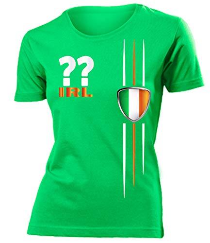 Irland Ireland Wunsch Zahl ohne Name Fan t Shirt Artikel 4471 Fuss Ball EM 2020 WM 2022 Trikot Look Flagge Fahne Frauen Damen Mädchen XXL