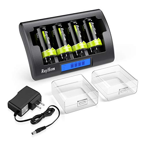 RayHom Universal Charger with D Batteries - 4 Bay LCD Charger for Ni-MH Ni-CD AA AAA C D 9V Rechargeable Batteries with Rechargeable D Batteries 10000mAh (4 Pack)