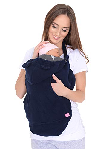 Mija - Tragecover, Universal Bezug für Baby Carrier/Tragetücher/Cape 4023 (Navy Blau/mit Vögeln)
