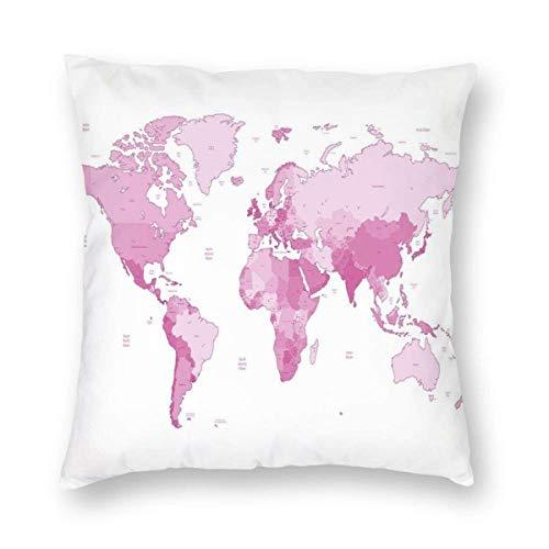 Diseño de Dos Lados Funda de Almohada Impresa, Mapa Mundial Continentes Isla Tierra Pacífico Atlas Europa América África Funda de Almohada Cuadrada Funda de cojín para sofá Sofá Decoración del hogar