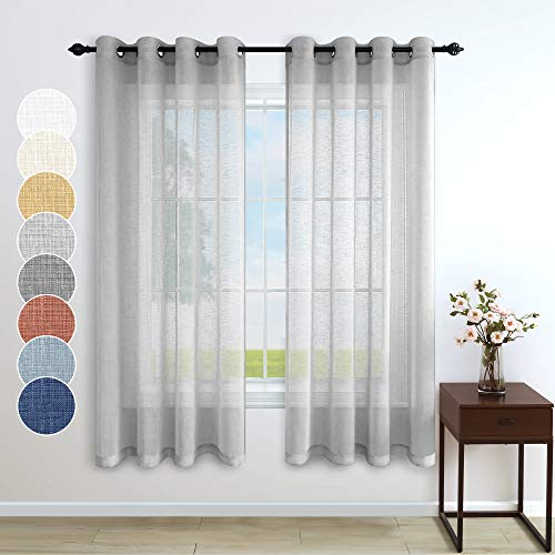 Gray Curtains 63 Inch Length for Kitchen 2 Panel Set Grommet Neutral Light Filtering Airy Lightweight Faux Linen Sheer Curtain for Bedroom Bathroom Window Laundry Doorway 52x63 Inches Long Silver Grey