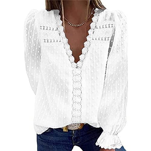 XOXSION Camiseta para mujer, moderna, de encaje, cuello en V, de gasa, de manga larga, holgada, informal, blusa de manga larga, elegante, básica., Blanco, M