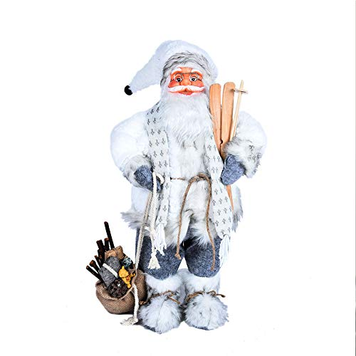 LUNK Christmas Santa Claus Figurine Decoration Medium Size Ornament Enjoyable Gift Doll Toy Table Decor Festival Present - Standing Red Black