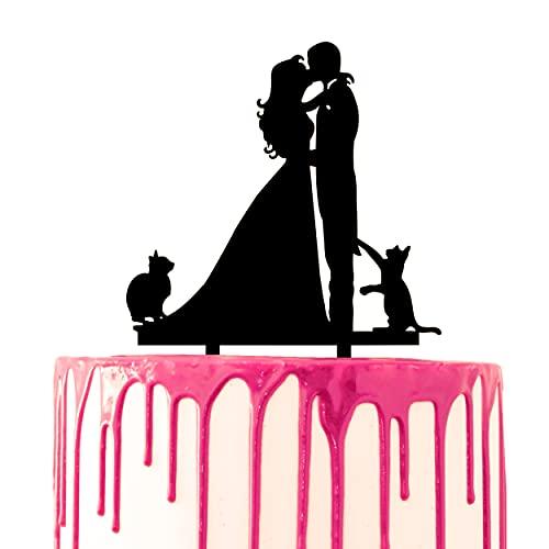 CARISPIBET Decoración para tarta de boda para besos, novio y novia con...