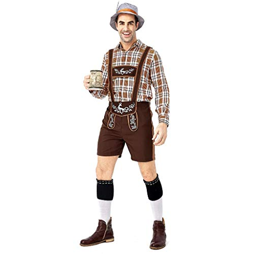 Herren Trachten Lederhose, Trachtenlederhose mit Trägern, original in Dunkelbraun, Oktoberfest (Braun, L)