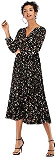 ZCLAU Floral Dress Long Section of The Spring Pressure Pleated V-Neck Long-Sleeved Chiffon Dress was Thin (Color : Black, Size : L)