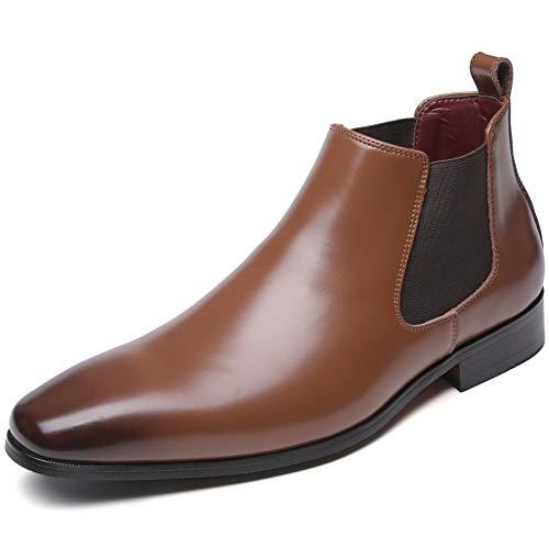 [フォクスセンス] ブーツ ビジネスシューズ チェルシーブーツ サイドゴア ブーツ メンズ 革靴 本革 防水 ブラウン 26.0cm 712-02