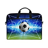 JOYPRINT Laptop Sleeve Case, Sport Ball Football Soccer 14-14.5 inch Briefcase Messenger Notebook Computer Bag with Shoulder Strap Handle for Men Women Boy Girls