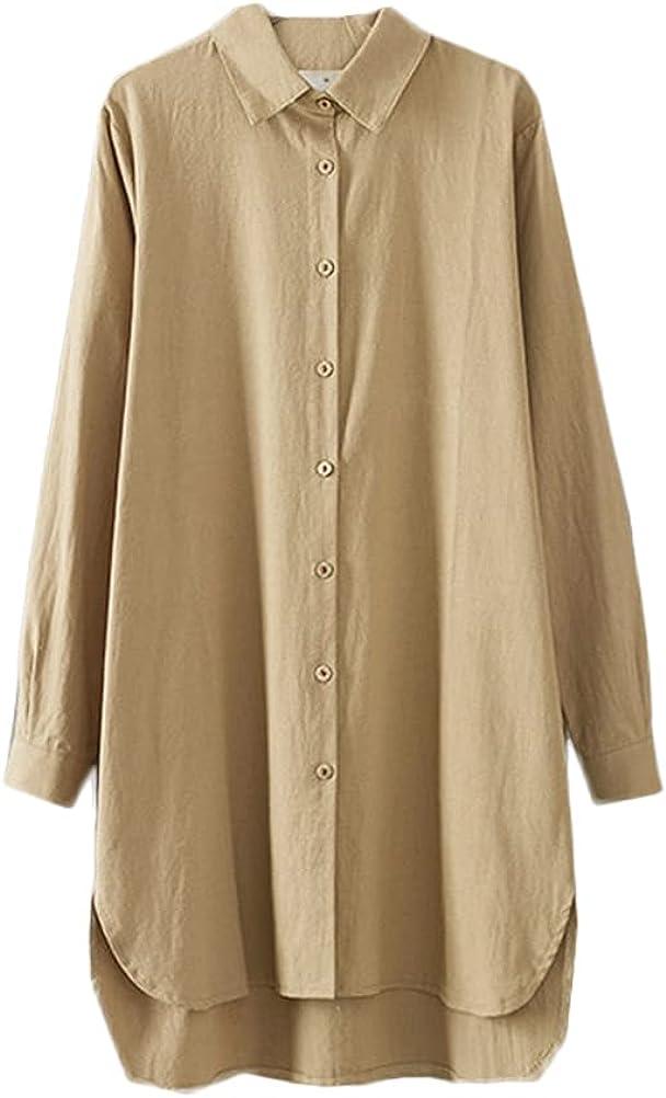 Minibee Women's Long Sleeve Shirts Button Down Blouse Plus Sizes Tunic High Low Tops