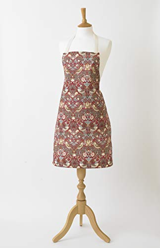 William Morris Red Strawberry Thief Cotton Drill Floral Apron