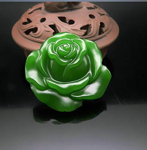 VBNHGF Estátuas e estatuetas enfeites de Flor Rosa de Jade Verde esculpido à mão Amuleto da sorte Colar pingente