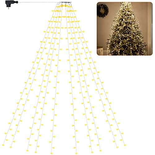 Luci a LED per Albero di Natale Interno e Esterno 10x2,8 , 280LEDs Lucine LED Albero di Natale Impermeabili IP44, Fili per Albero di Natale Luci Natalizie di Illuminazione a 8 Modalità, Bianco Caldo