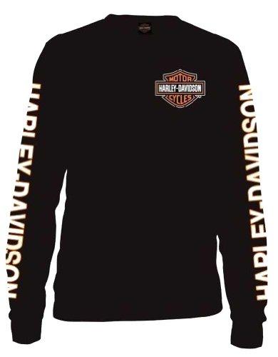 Harley-Davidson Men's Long Sleeve Orange Bar & Shield Black Shirt 30291744 (L)