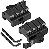 LONSEL Picatinny Riser Mounts, 2 Pack Low Profile Rail Riser Mount Adaptor with QD Lever Lock Quick Release/Detach & 3 Slots Picatinny Rails for Scope Rings Optics Sights - 1/2' H x 1.57'' L