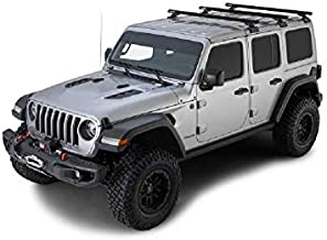 Rhino Rack 2018-2020 Compatible with Jeep Wrangler JL 4dr SUV Hard Top Heavy Duty RCL Black 3 Bar Backbone Roof Rack JB0882