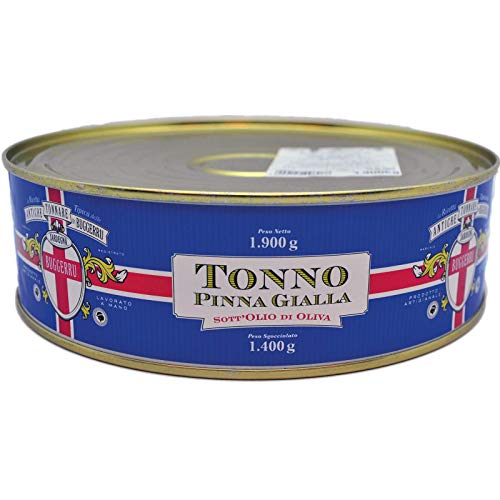 Filetti di tonno Pinna Gialla all'olio di oliva 1,9 Kg lavorazione artigianale di Sarda affumicati.
