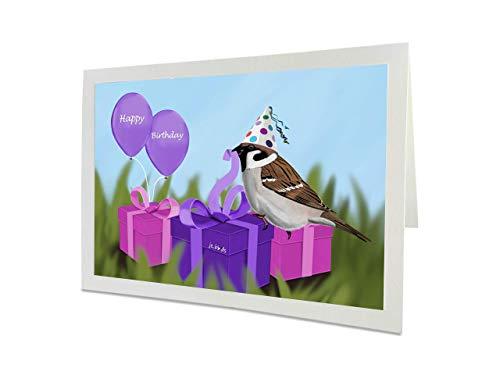 jz.birds Vogelmotiv Geburtstagskarte Mädchen Spatz packt Geschenke aus Grußkarte mit Umschlag