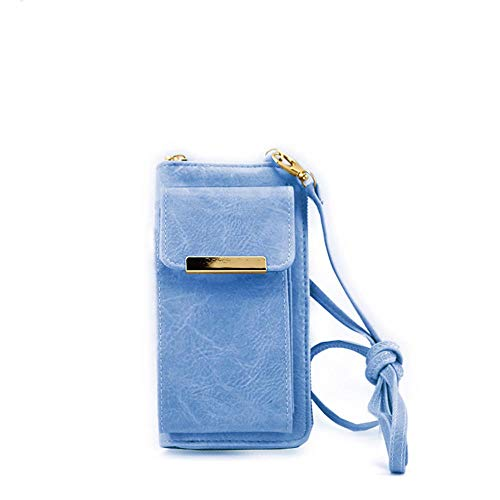 MODELISA - Mobile Phone Bag for Women, PU Mobile Phone Wallet with Zip Shoulder Purse with Card Slots and Wallet Blue Size: 5.8 pulgadas