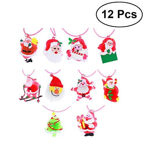 TOYMYTOY 12pcs Weihnachten blinkende hängende Halskette LED lumineszierende Silikon-Anhänger für Kinder (gemischte Art)