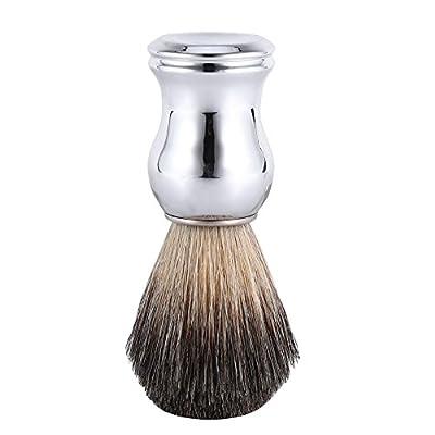 Shaving Brush, Men's Fashionable Shaving Brush Face Cleaning Tool Faux Badger Hair & Silver Plastic Handle from Filfeel