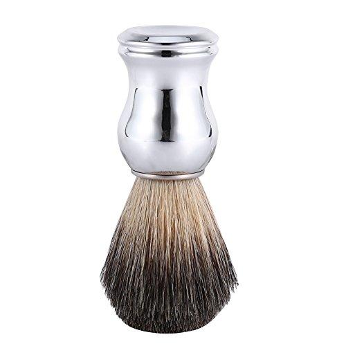 Dachshaar Rasierpinsel, Naturhaarpinsel aus echtem Dachshaar für Eine Hautschonende, Silber Kunststoffgriff Pinsel Rasur Zubehör