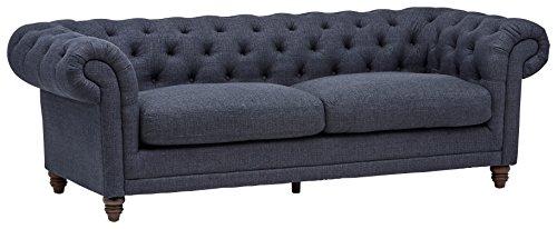 "Amazon Brand – Stone & Beam Bradbury Chesterfield Tufted Sofa Couch, 92.9""W, Navy"