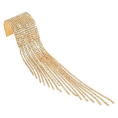 JolieHome Tassel Sparkling Rhinestone Cuff Bracelet, Wrap Bracelet with Fringe for Party Gold Bracelets for Women