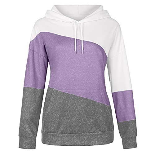 Langarmshirt Damen Sweatshirt Langarm Locker Pullover Blusen Rundhals T-Shirts Sommer Patchwork Nähen Tops Shirt Hit Farbe Oberteile