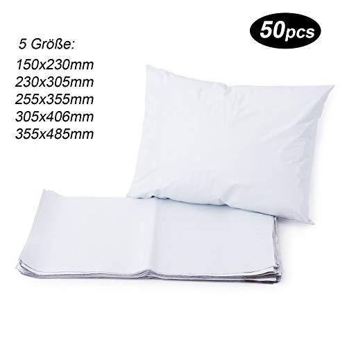 50st Versandtaschen Versandbeutel Versandtueten Blickdicht, Weiß, 230x305MM