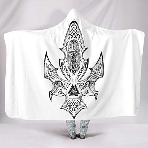 Wandlovers Acogedora manta vikinga Odin Valknut celta impresión de nudo celta cálido invierno felpa tribal poncho con capucha blanco 150 x 200 cm