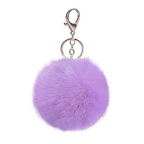 Tortor 1bacha Charm Faux Fur Pompon 2 Piece Pom Pom Fuzzy Ball with Keychain (Long Fur Lavender)