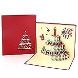 Geburtstagskarte Pop Up,3D Pop Up Geburtstagskarte mit Umschlag Handgefertigt Geschenkkarte Lasergeschnittene Geburtstagskarten für Familie Kinderfreunde Valentine Lover Happy Birthday Jubiläum