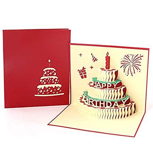 Yongbest Tarjeta de Cumpleaños Pop Up 3D,Tarjeta de Regalo Tarjeta de San Valentin con Láser para La Familia Niños Amigos Amante de San Valentín Feliz Cumpleaños Aniversario