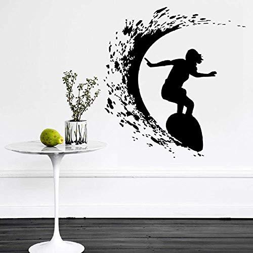 Extreme Sports Girl Surfing Silhouette Cool Wall Decal Habitación Familiar Art Deco Vinilo Adhesivo De Pared Chica Con Tabla De Surf Poster 57X57Cm