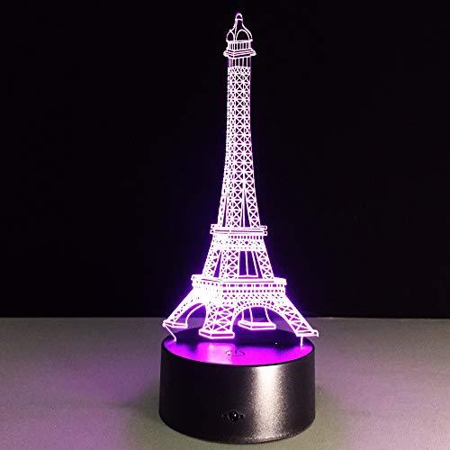 Mddjj Romantic France Eiffel Tower 3D Led Night Light Rgb Changeable Mood Lamp Usb Decorative Table Lamp Kids Friends Gift Drop Ship Schlafzimmerdekoration