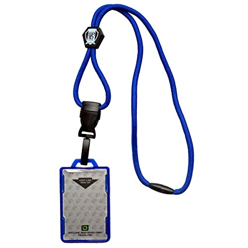 Specialist ID Heavy Duty Lanyard and Identity Stronghold 2-Card RFID Blocking Badge Holder - 2 Sided/Blocks 13.56MHz Signal (Royal Blue)